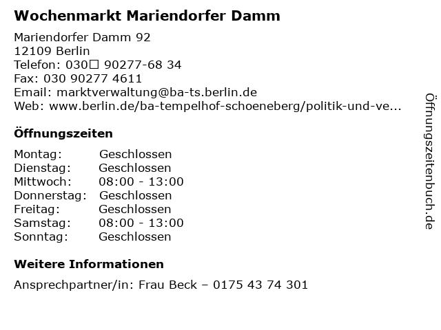 Wochenmarkt Mariendorfer Damm in Berlin: Adresse und Öffnungszeiten