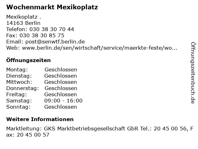 Wochenmarkt Mexikoplatz in Berlin: Adresse und Öffnungszeiten