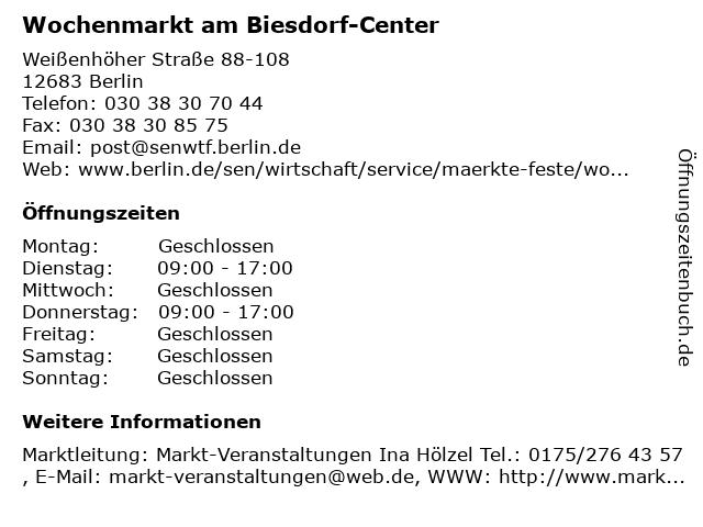 ᐅ öffnungszeiten Wochenmarkt Am Biesdorf Center Weißenhöher