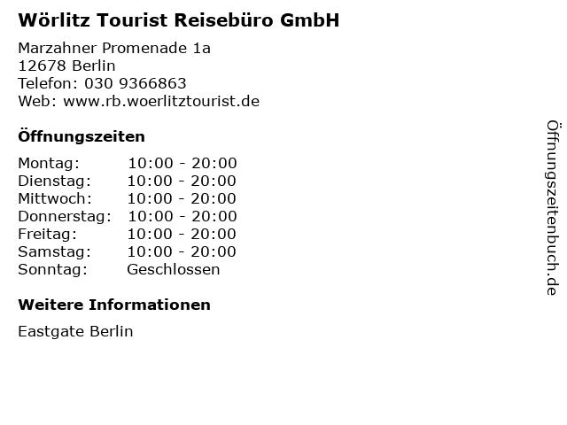 Wörlitz Tourist Reisebüro GmbH in Berlin: Adresse und Öffnungszeiten