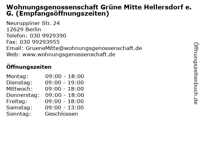 Wohnungsgenossenschaft Grüne Mitte Hellersdorf e.G. (Empfangsöffnungszeiten) in Berlin: Adresse und Öffnungszeiten