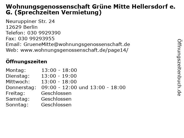 Wohnungsgenossenschaft Grüne Mitte Hellersdorf e.G. (Sprechzeiten Vermietung) in Berlin: Adresse und Öffnungszeiten