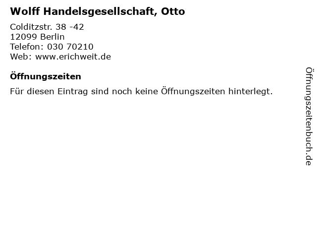 Wolff Handelsgesellschaft, Otto in Berlin: Adresse und Öffnungszeiten