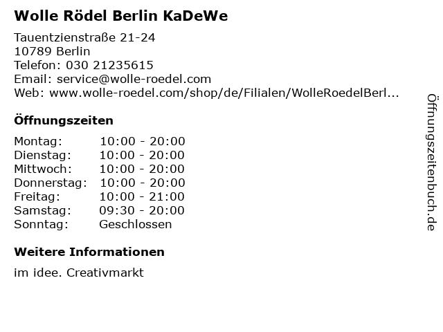 Wolle Rödel Berlin KaDeWe in Berlin: Adresse und Öffnungszeiten