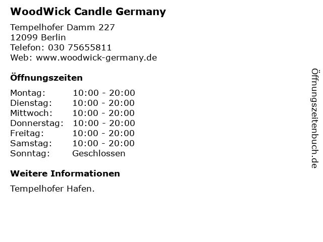 WoodWick Candle Germany in Berlin: Adresse und Öffnungszeiten