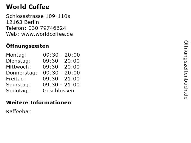 World Coffee in Berlin: Adresse und Öffnungszeiten