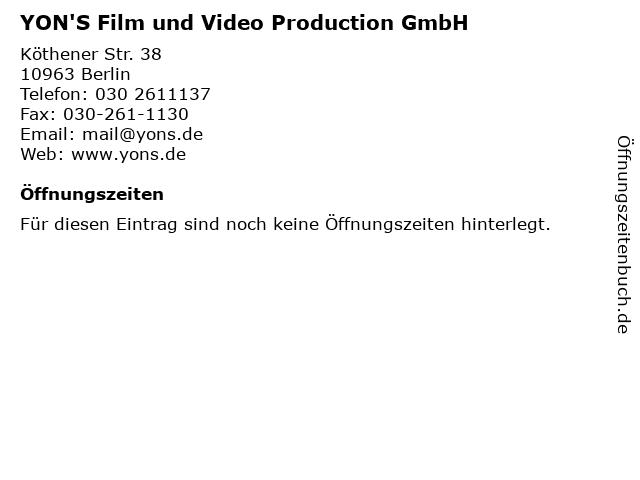 YON'S Film und Video Production GmbH in Berlin: Adresse und Öffnungszeiten