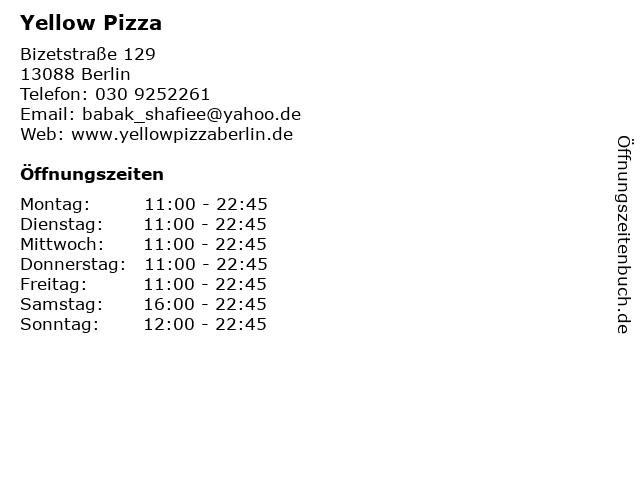 Yellow Pizza in Berlin: Adresse und Öffnungszeiten