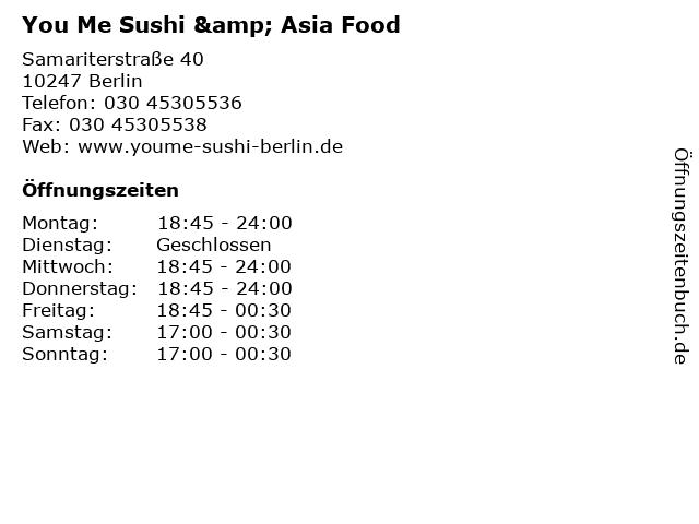 You Me Sushi & Asia Food in Berlin: Adresse und Öffnungszeiten