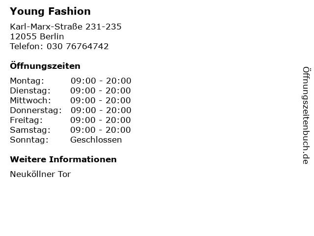 Young Fashion in Berlin: Adresse und Öffnungszeiten