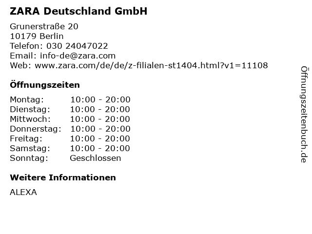 ZARA Deutschland GmbH in Berlin: Adresse und Öffnungszeiten