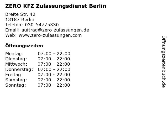 ZERO KFZ Zulassungsdienst Berlin in Berlin: Adresse und Öffnungszeiten