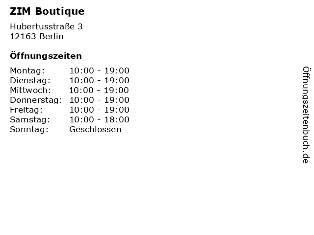 ZIM Boutique in Berlin: Adresse und Öffnungszeiten