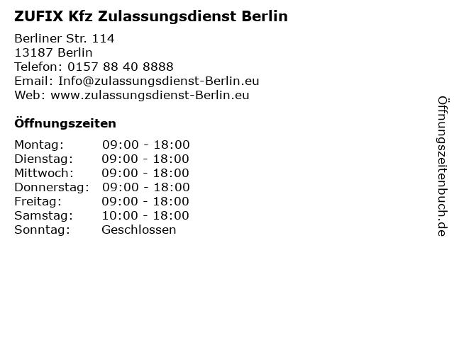 ZUFIX Kfz Zulassungsdienst Berlin in Berlin: Adresse und Öffnungszeiten