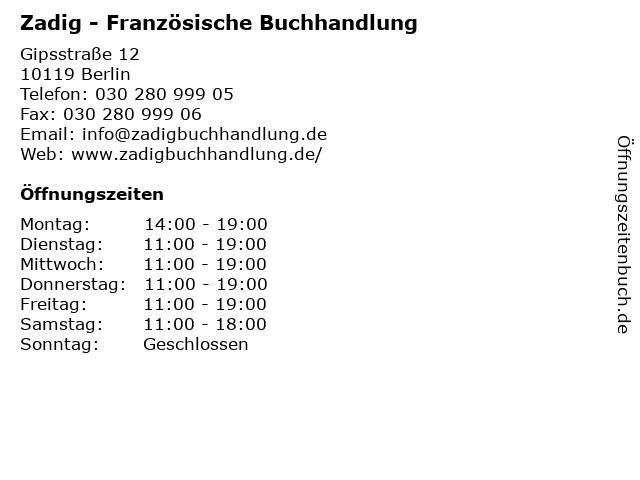 Zadig - Französische Buchhandlung in Berlin: Adresse und Öffnungszeiten