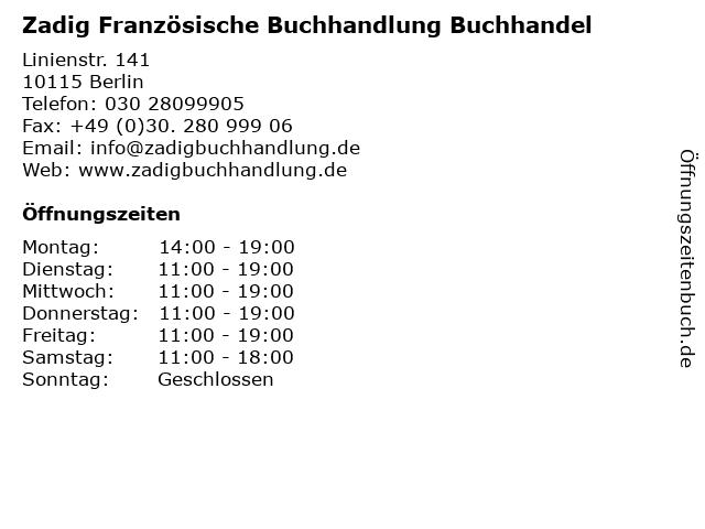 Zadig Französische Buchhandlung Buchhandel in Berlin: Adresse und Öffnungszeiten