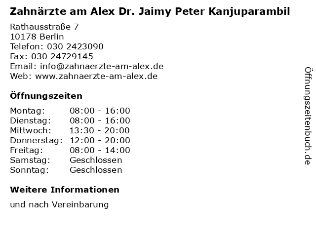 Zahnärzte am Alex Dr. Jaimy Peter Kanjuparambil in Berlin: Adresse und Öffnungszeiten