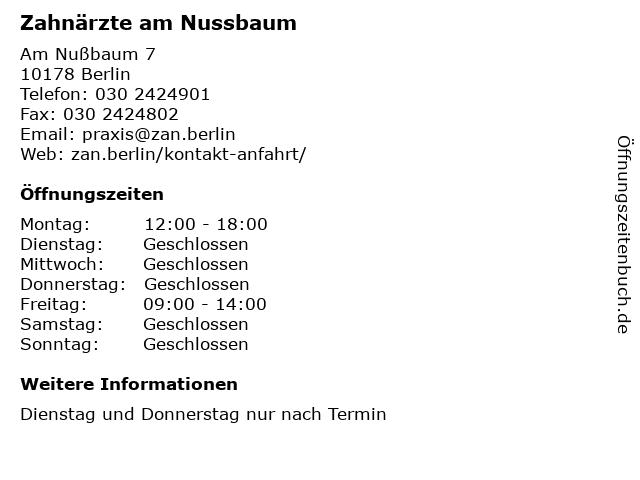 Zahnärzte am Nussbaum in Berlin: Adresse und Öffnungszeiten