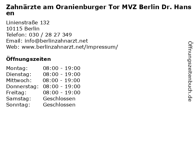 Zahnärzte am Oranienburger Tor MVZ Berlin Dr. Hansen in Berlin: Adresse und Öffnungszeiten