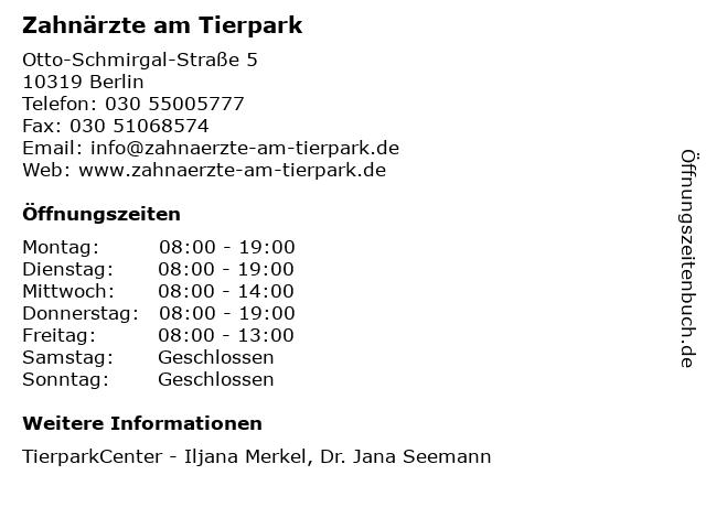 Zahnärzte am Tierpark in Berlin: Adresse und Öffnungszeiten