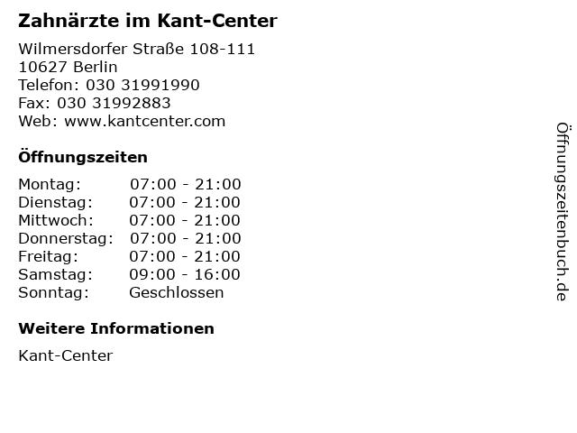 Zahnärzte im Kant-Center in Berlin: Adresse und Öffnungszeiten