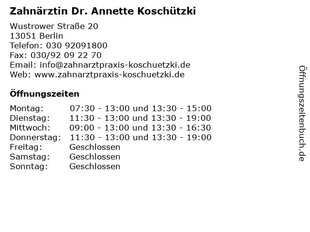 Zahnärztin Dr. Annette Koschützki in Berlin: Adresse und Öffnungszeiten