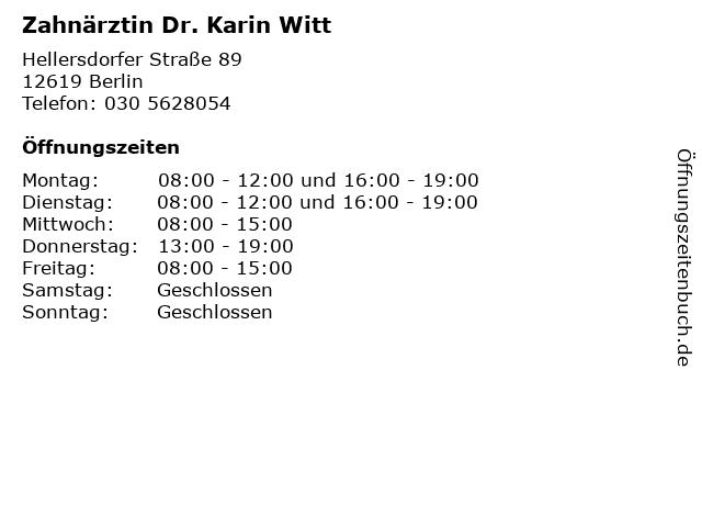 Zahnärztin Dr. Karin Witt in Berlin: Adresse und Öffnungszeiten