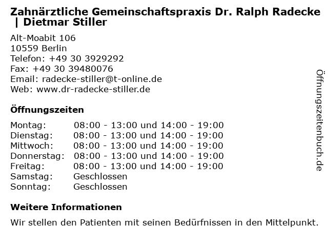 Zahnärztliche Gemeinschaftspraxis Dr. Ralph Radecke | Dietmar Stiller in Berlin: Adresse und Öffnungszeiten