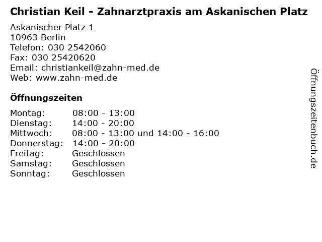Zahnarzt Christian Keil in Berlin: Adresse und Öffnungszeiten
