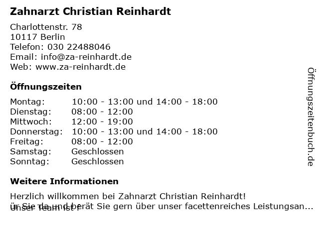Zahnarzt Christian Reinhardt in Berlin: Adresse und Öffnungszeiten