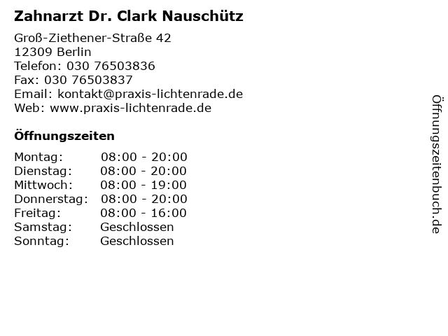Zahnarzt Dr. Clark Nauschütz in Berlin: Adresse und Öffnungszeiten