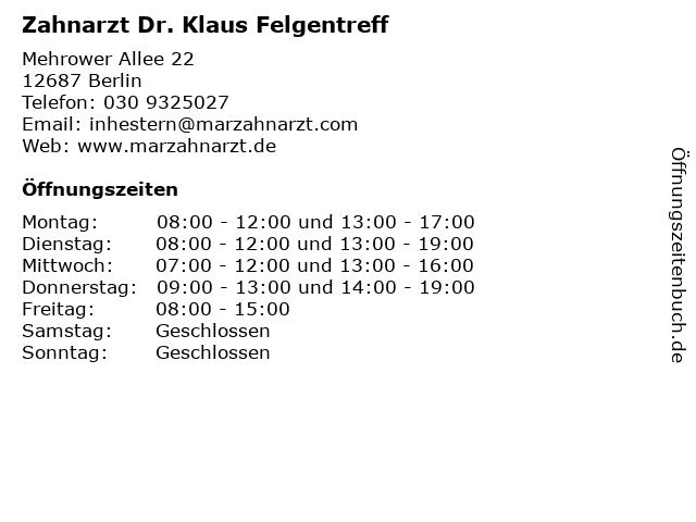 Zahnarzt Dr. Klaus Felgentreff in Berlin: Adresse und Öffnungszeiten