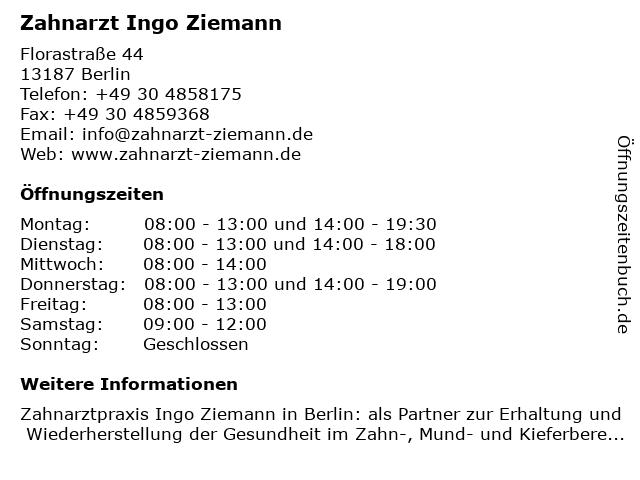 Zahnarzt Ingo Ziemann in Berlin: Adresse und Öffnungszeiten