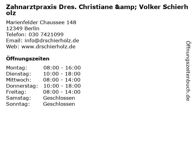 Zahnarztpraxis Dres. Christiane & Volker Schierholz in Berlin: Adresse und Öffnungszeiten