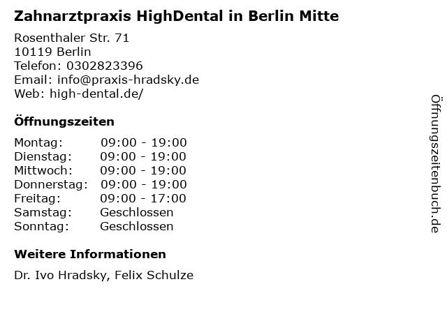 Zahnarztpraxis HighDental in Berlin Mitte in Berlin: Adresse und Öffnungszeiten