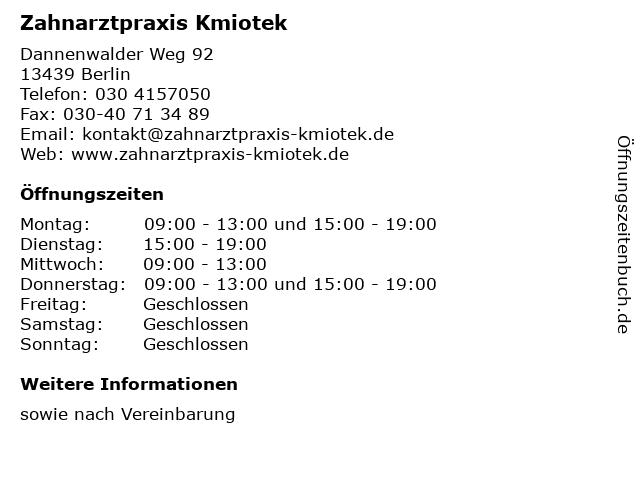 Frank Kmiotek Zahnarzt in Berlin: Adresse und Öffnungszeiten