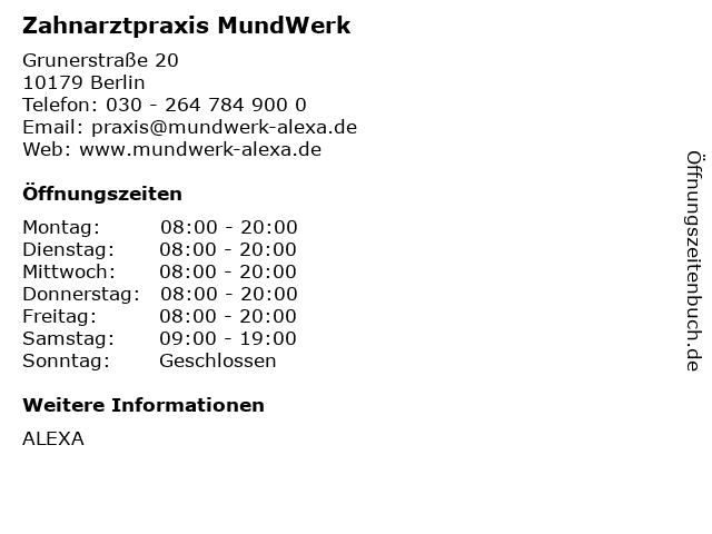 Zahnarztpraxis MundWerk im Alexa in Berlin: Adresse und Öffnungszeiten