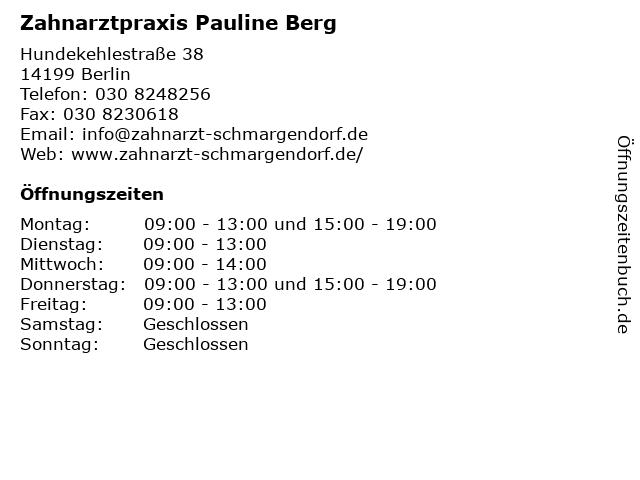 Zahnarztpraxis Pauline Berg in Berlin: Adresse und Öffnungszeiten