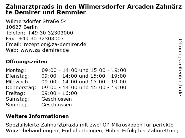 Zahnarztpraxis in den Wilmersdorfer Arcaden Zahnärzte Demirer und Remmler in Berlin: Adresse und Öffnungszeiten