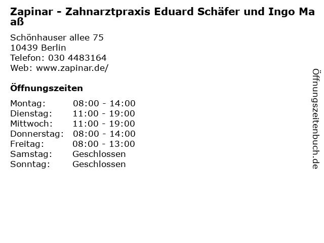 Zapinar - Zahnarztpraxis Eduard Schäfer und Ingo Maaß in den Schönhauser Allee Arcaden in Berlin: Adresse und Öffnungszeiten