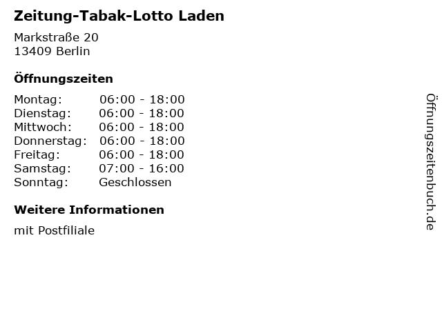 Zeitung-Tabak-Lotto Laden - Deutsche Post Filiale in Berlin: Adresse und Öffnungszeiten
