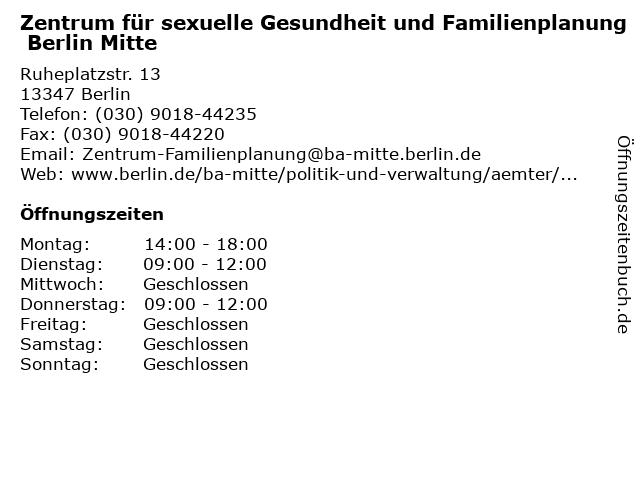 Zentrum für sexuelle Gesundheit und Familienplanung Berlin Mitte in Berlin: Adresse und Öffnungszeiten