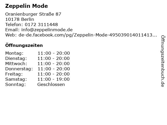 Zeppelin Mode in Berlin: Adresse und Öffnungszeiten