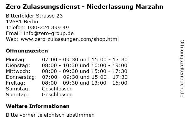 Zero Zulassungsdienst - Niederlassung Marzahn in Berlin: Adresse und Öffnungszeiten
