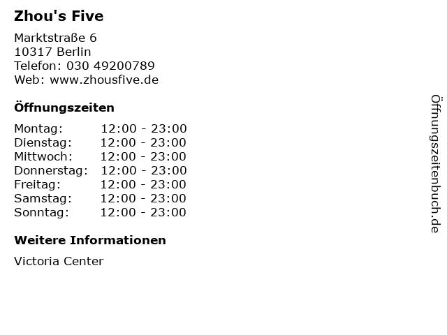 Zhou's Five in Berlin: Adresse und Öffnungszeiten