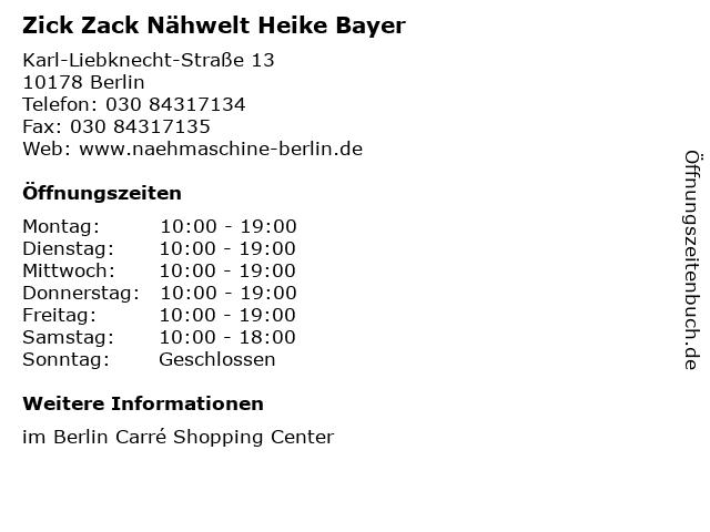 Zick Zack Nähwelt Heike Bayer in Berlin: Adresse und Öffnungszeiten