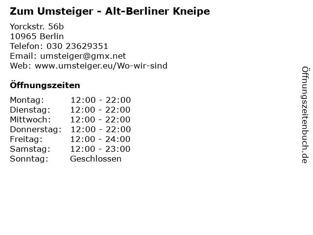 Zum Umsteiger - Alt-Berliner Kneipe in Berlin: Adresse und Öffnungszeiten