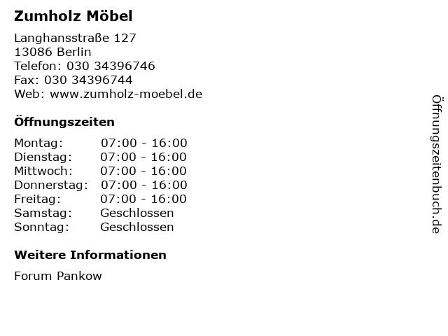Zumholz Möbel in Berlin: Adresse und Öffnungszeiten