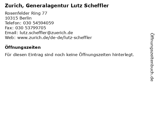 Zurich, Generalagentur Lutz Scheffler in Berlin: Adresse und Öffnungszeiten