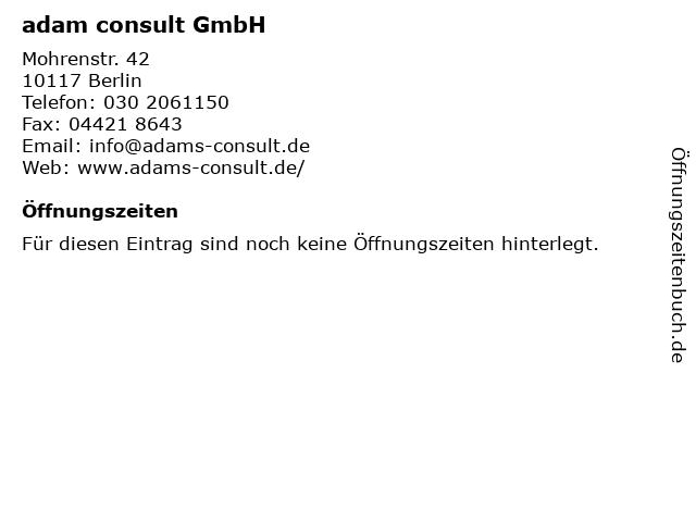 adam consult GmbH in Berlin: Adresse und Öffnungszeiten